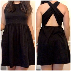 ASOS Sleeveless Cross-Back Flare Dress Black 6P